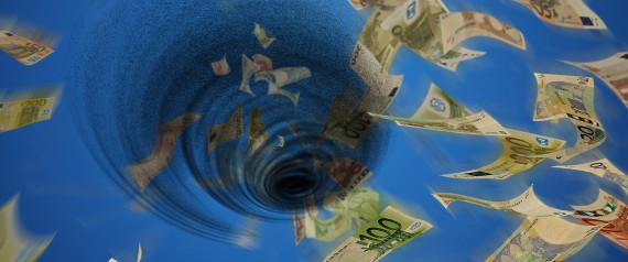 Whirl of euro bills