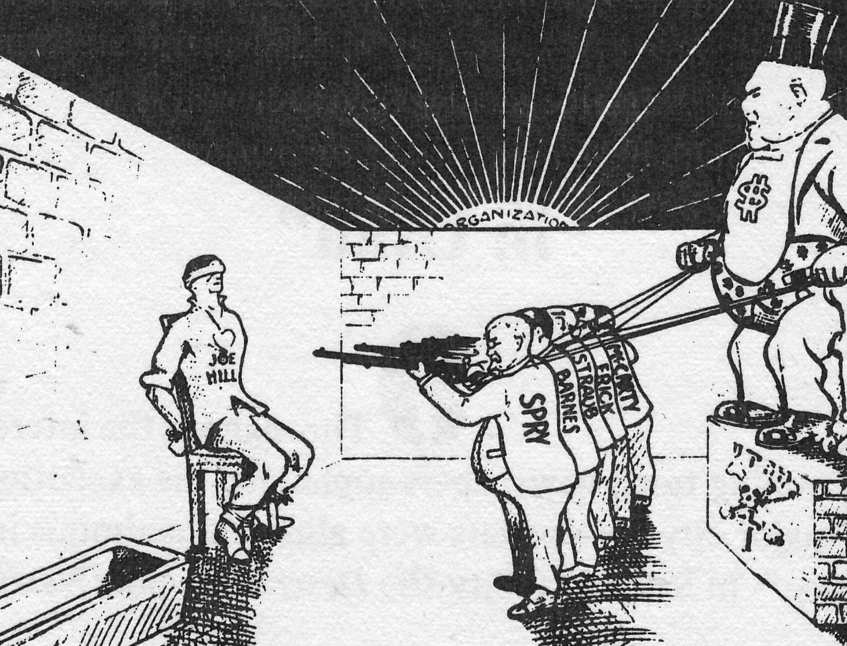 Σκίτσο της εκτέλεσης του Τζο Χιλ από το περιοδικό «Αλληλεγγύη»