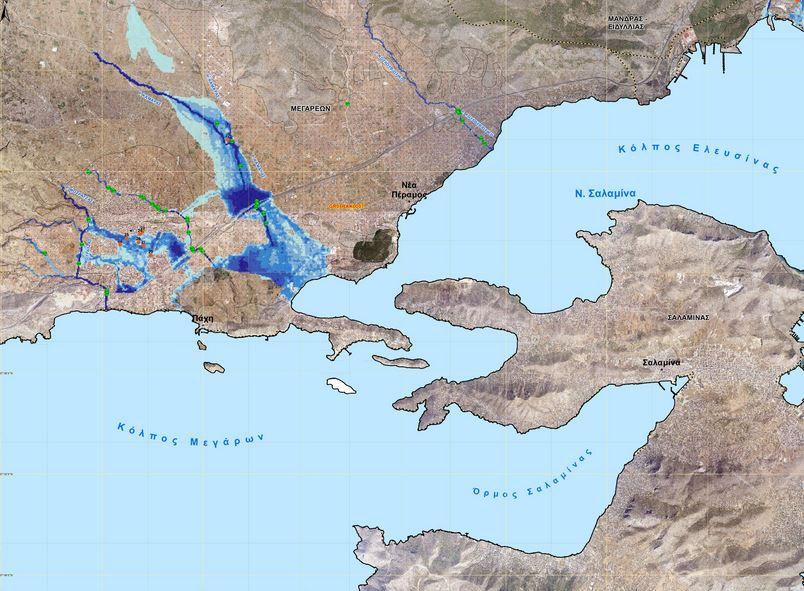 Στον χάρτη αποτυπώνεται η πιθανή έκταση πλημμύρας του ρέματος Καμάρες στα Μέγαρα από βροχή που εμφανίζεται κατά μέσο όρο μια φορά στα χίλια χρόνια