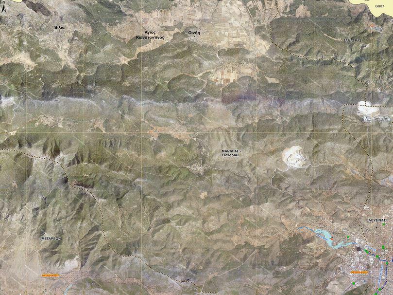 Χάρτης που απεικονίζει την πιθανή έκταση πλημμύρας του ρέματος Σούρες στην Μάνδρα από βροχή που εμφανίζεται κατα μέσο όρο μια φορά στα χίλια χρόνια