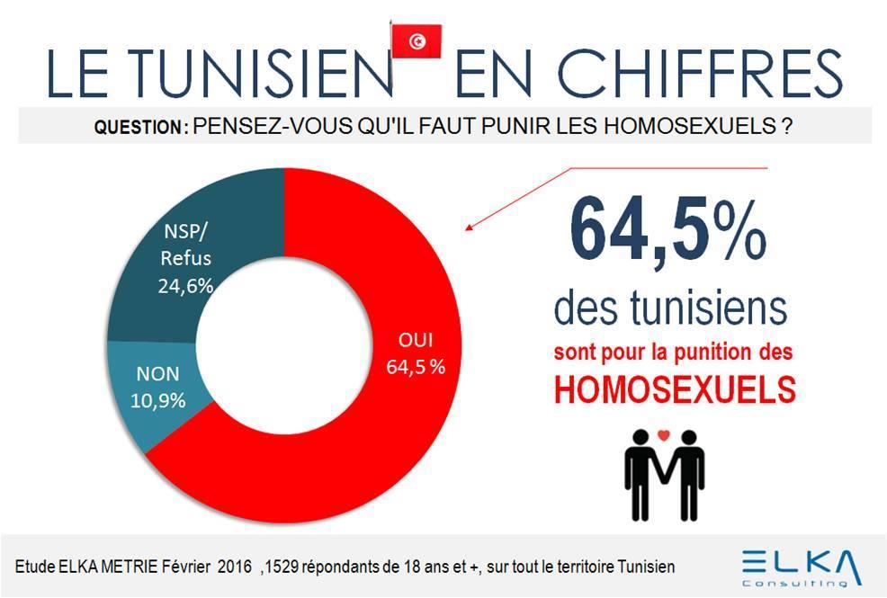 «Οι Τυνήσιοι σε αριθμούς»: Πιστεύετε ότι πρέπει να τιμωρούνται οι ομοφυλόφιλοι; Ναι: 64,5% Όχι: 10,9% Δεν ξέρω, δεν απαντώ: 24,6% Έρευνα: Φεβρουάριος 2016