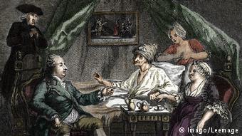 O γηραιός Βολταίρος στο κρεβάτι του