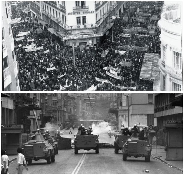 Πάνω, η πρώτη επετειακή διαδήλωση για το Πολυτεχνείο. Κάτω, η καταστολή των εργατικών κινητοποιήσεων της 25ης Μαΐου 1976 κατά του αντεργατικού Ν. 330 | ASSOCIATED PRESS