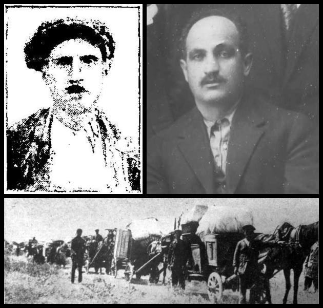 ↳ Τα θύματα του πογκρόμ: αριστερά, ο Εβραίος μικροπωλητής Λεόν Βιντάλ, που σκοτώθηκε με μια σφαίρα στο στήθος.· δεξιά, ο χριστιανός φούρναρης του Κάμπελ, Λεωνίδας Παππάς, που θέλησε να προστατεύσει τους γείτονές του και δέχτηκε μια σφαίρα στην κοιλιά.·κάτω, πρώην κάτοικοι του πυρπολημένου οικισμού, με ό,τι απέμεινε απ' το βιος τους, σε αναζήτηση νέας κατοικίας | «ΡΙΖΟΣΠΑΣΤΗΣ» 6/7/1931 |Μ. ΤΡΕΜΟΠΟΥΛΟΣ, «ΤΑ ΤΡΙΑ Ε» (2018) | ΑΡΧΕΙΟ Μ. ΤΡΕΜΟΠΟΥΛΟΥ