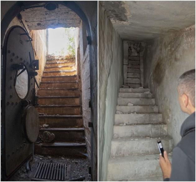 Αριστερά: Στα ναυτικά καταφύγια, όπως αυτό στον Πειραιά, οι πόρτες προέρχονταν απο παροπλισμένα θωρηκτά. Δεξιά: Εξοδος κινδύνου καταφυγίου στη Βαλαωρίτου