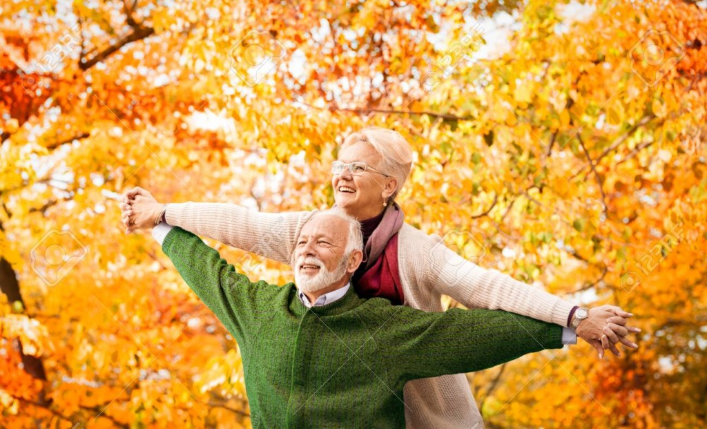 Senior couple enjoy in their love the of third age. Freedom, love, relationship…